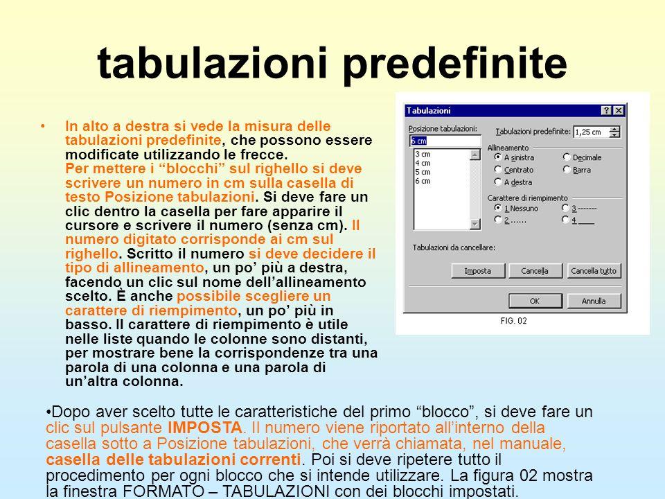tabulazioni predefinite