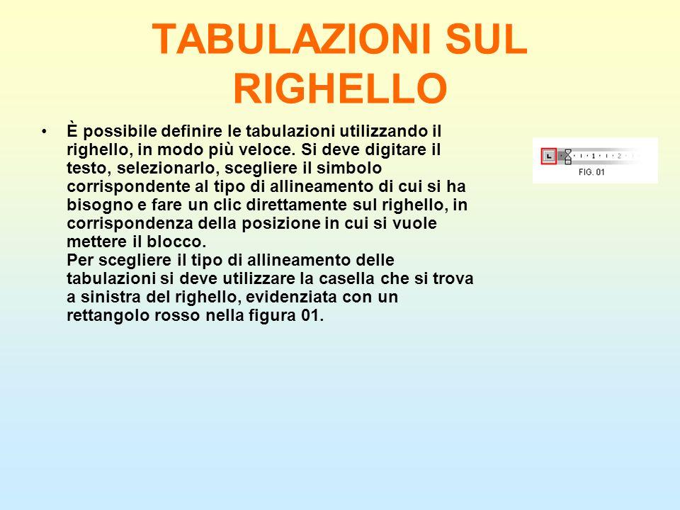 TABULAZIONI SUL RIGHELLO