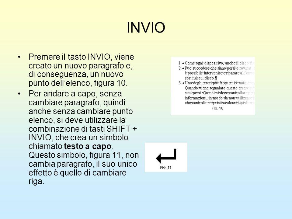 INVIO Premere il tasto INVIO, viene creato un nuovo paragrafo e, di conseguenza, un nuovo punto dell'elenco, figura 10.