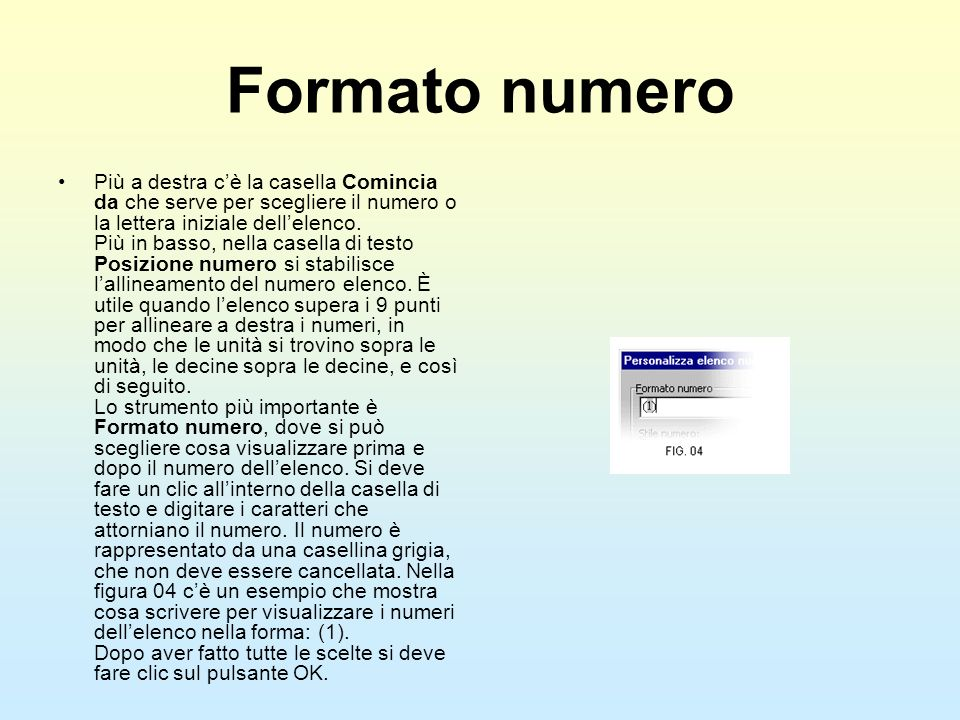 Formato numero