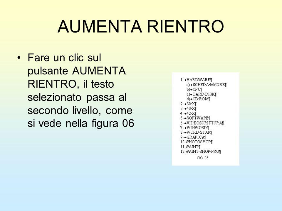 AUMENTA RIENTRO Fare un clic sul pulsante AUMENTA RIENTRO, il testo selezionato passa al secondo livello, come si vede nella figura 06.