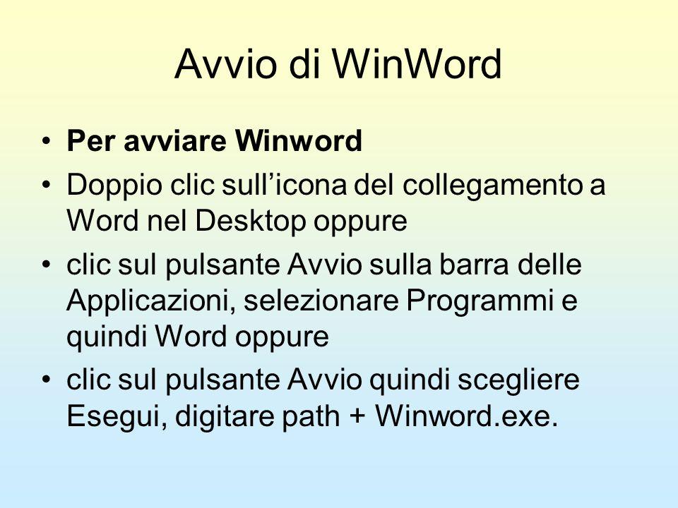Avvio di WinWord Per avviare Winword