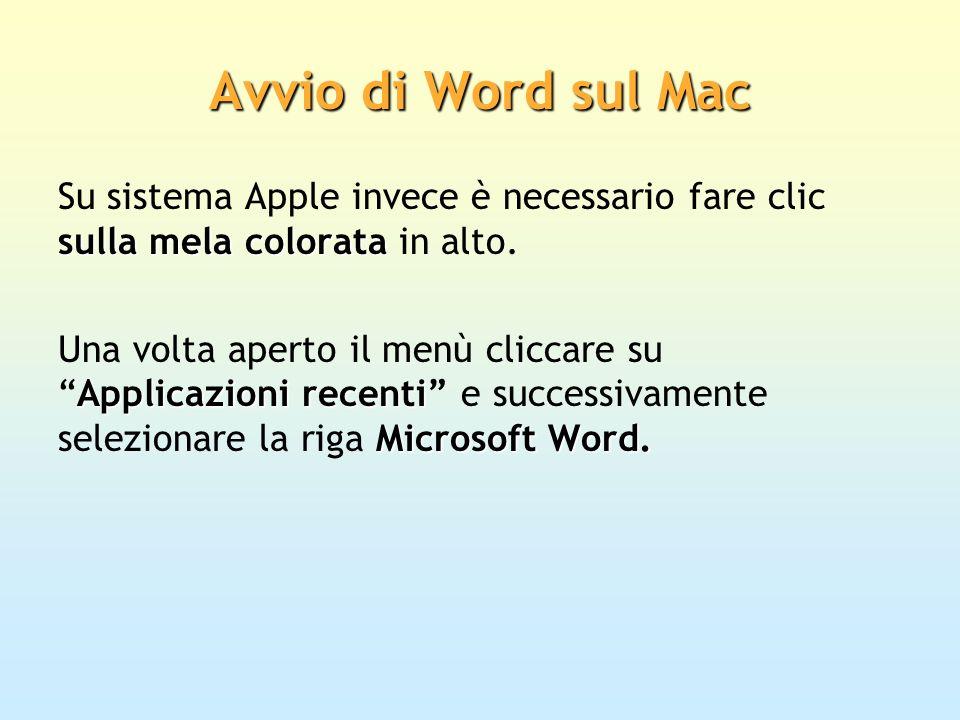 Avvio di Word sul MacSu sistema Apple invece è necessario fare clic sulla mela colorata in alto.