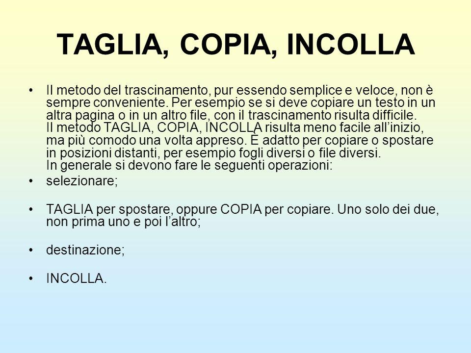 TAGLIA, COPIA, INCOLLA