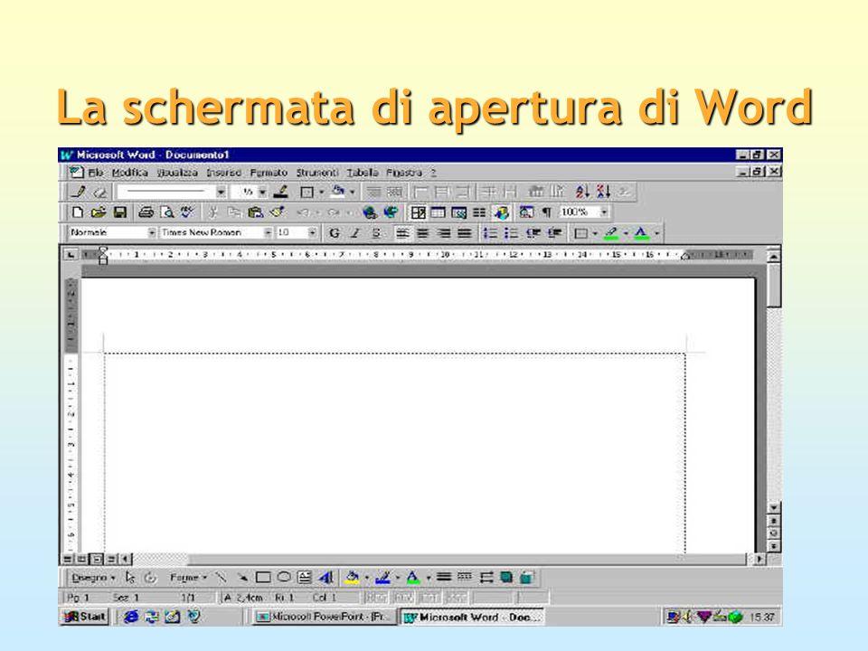 La schermata di apertura di Word