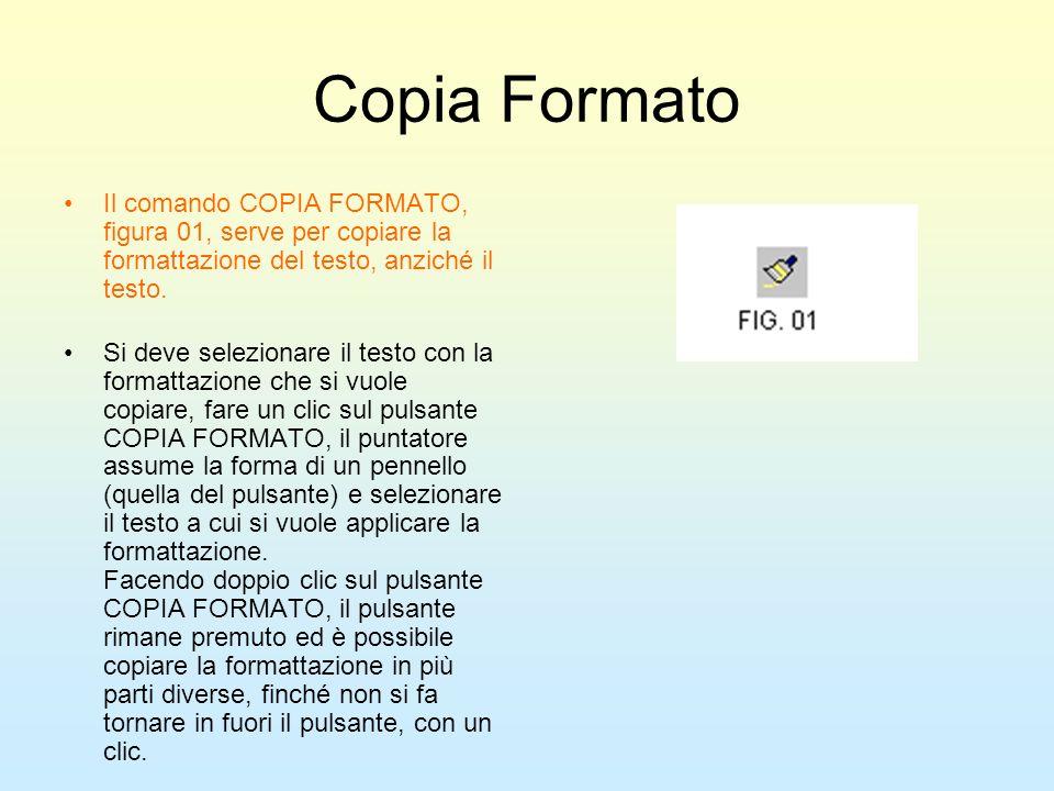 Copia FormatoIl comando COPIA FORMATO, figura 01, serve per copiare la formattazione del testo, anziché il testo.
