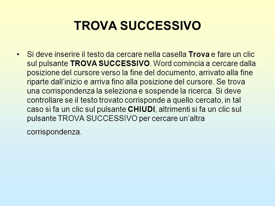 TROVA SUCCESSIVO