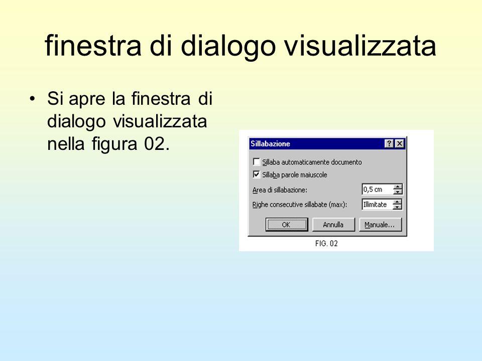 finestra di dialogo visualizzata