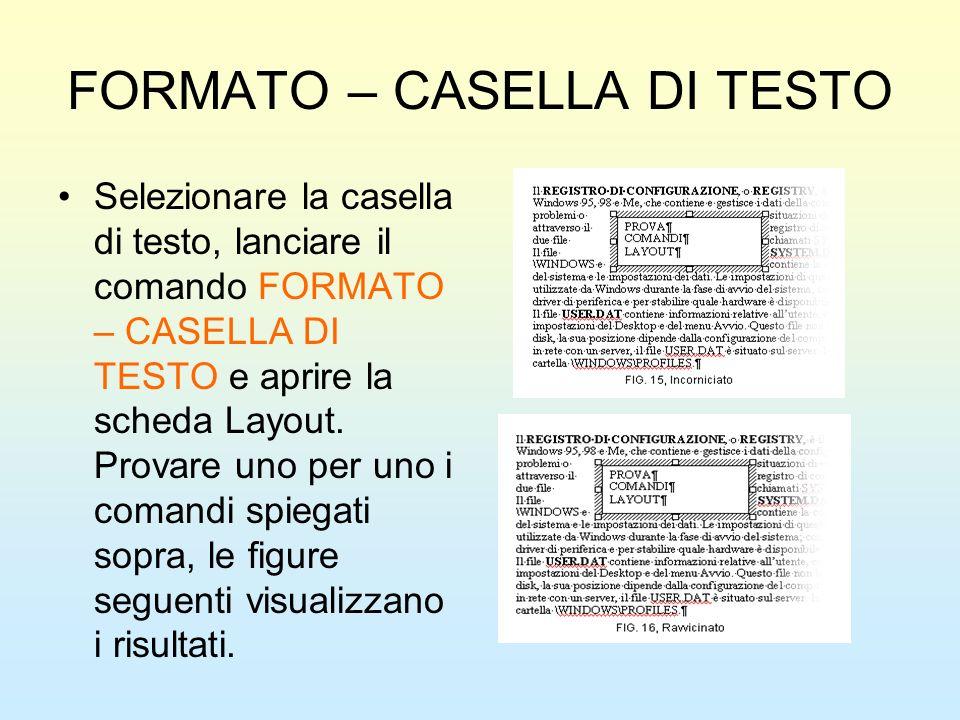 FORMATO – CASELLA DI TESTO