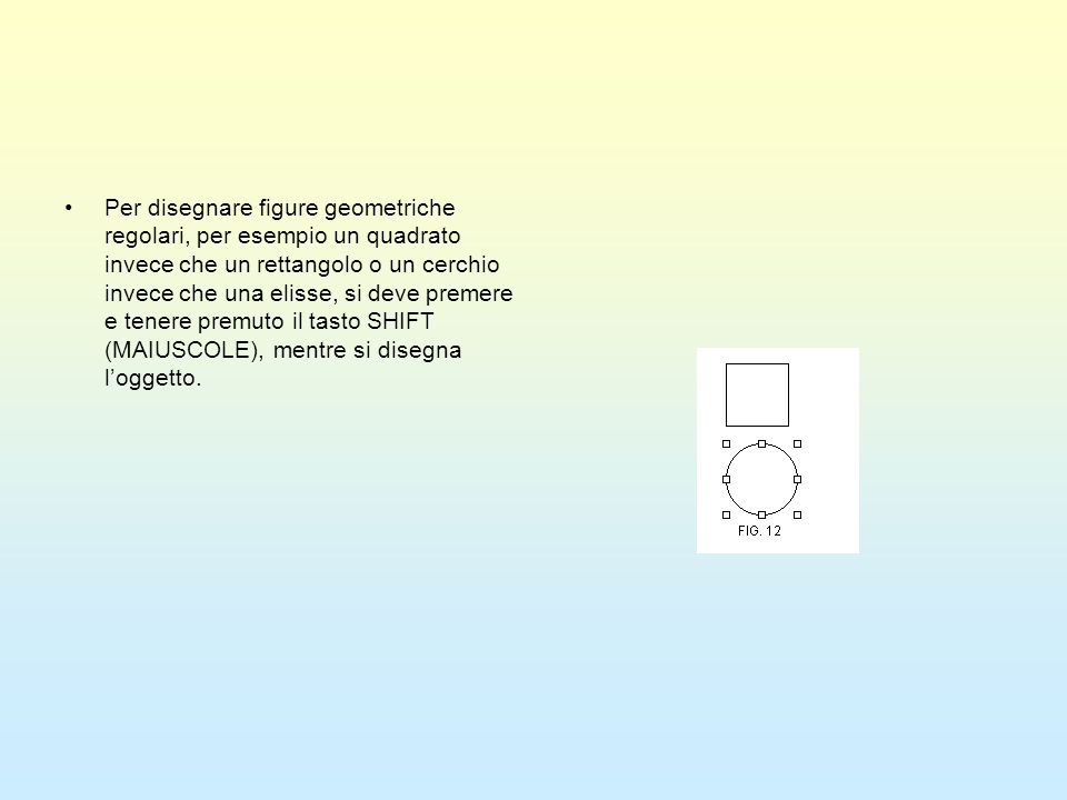Per disegnare figure geometriche regolari, per esempio un quadrato invece che un rettangolo o un cerchio invece che una elisse, si deve premere e tenere premuto il tasto SHIFT (MAIUSCOLE), mentre si disegna l'oggetto.