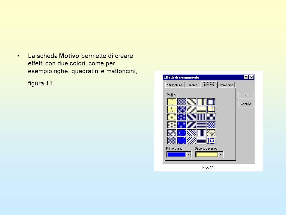 La scheda Motivo permette di creare effetti con due colori, come per esempio righe, quadratini e mattoncini, figura 11.