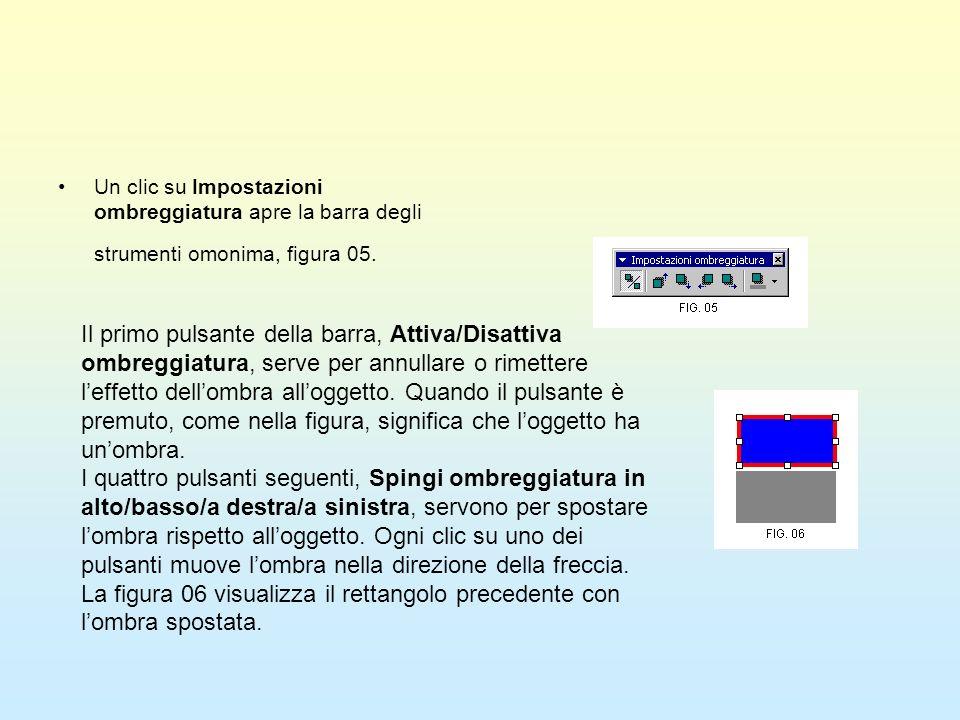 Un clic su Impostazioni ombreggiatura apre la barra degli strumenti omonima, figura 05.