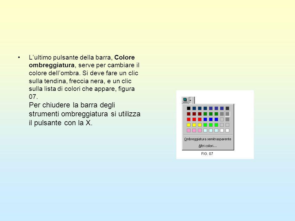 L'ultimo pulsante della barra, Colore ombreggiatura, serve per cambiare il colore dell'ombra.