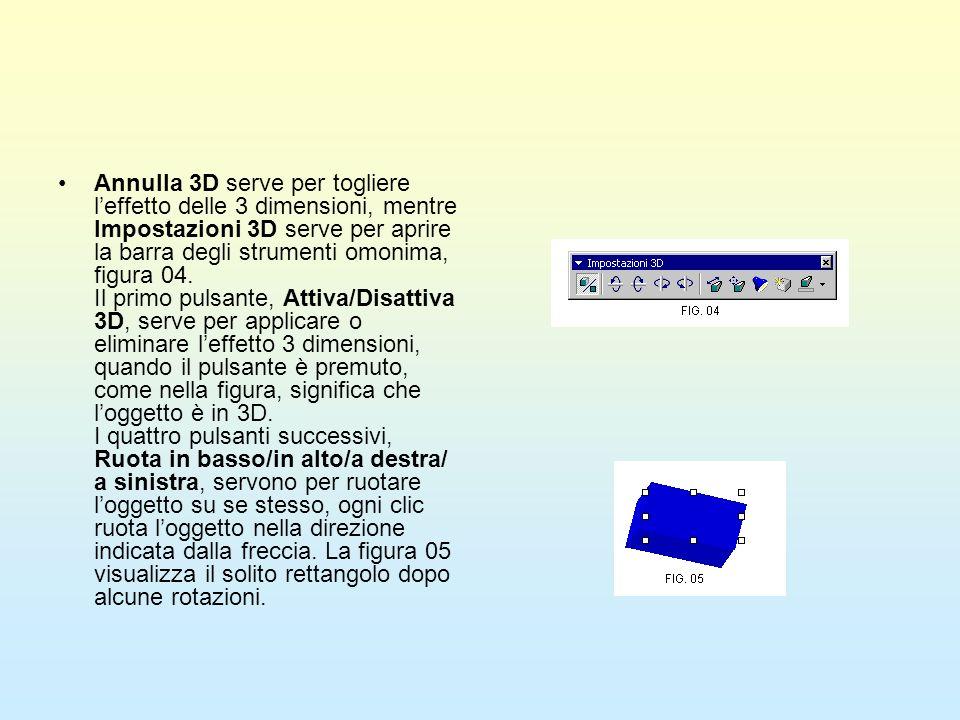 Annulla 3D serve per togliere l'effetto delle 3 dimensioni, mentre Impostazioni 3D serve per aprire la barra degli strumenti omonima, figura 04.