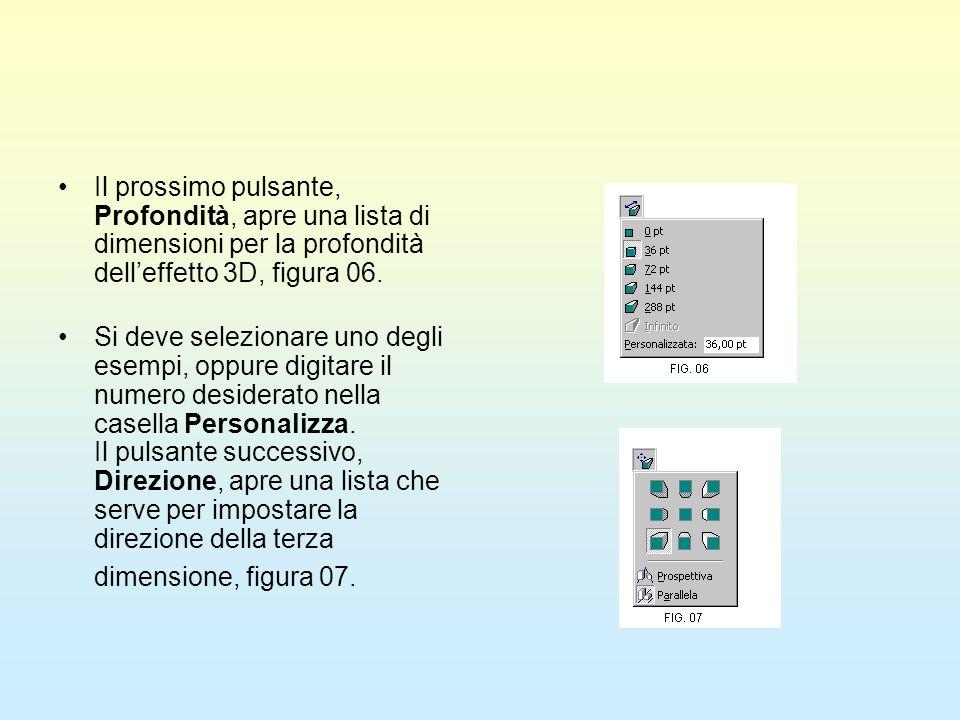 Il prossimo pulsante, Profondità, apre una lista di dimensioni per la profondità dell'effetto 3D, figura 06.