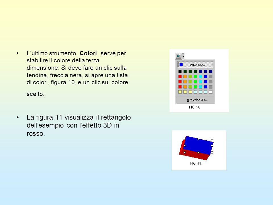 L'ultimo strumento, Colori, serve per stabilire il colore della terza dimensione. Si deve fare un clic sulla tendina, freccia nera, si apre una lista di colori, figura 10, e un clic sul colore scelto.