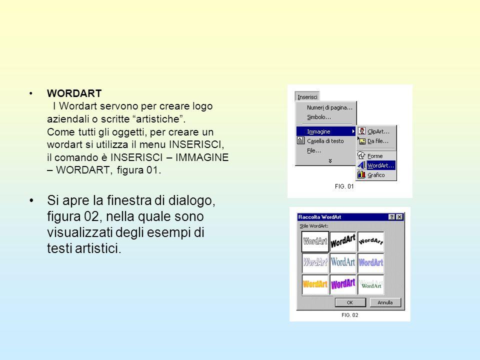 WORDART I Wordart servono per creare logo aziendali o scritte artistiche . Come tutti gli oggetti, per creare un wordart si utilizza il menu INSERISCI, il comando è INSERISCI – IMMAGINE – WORDART, figura 01.