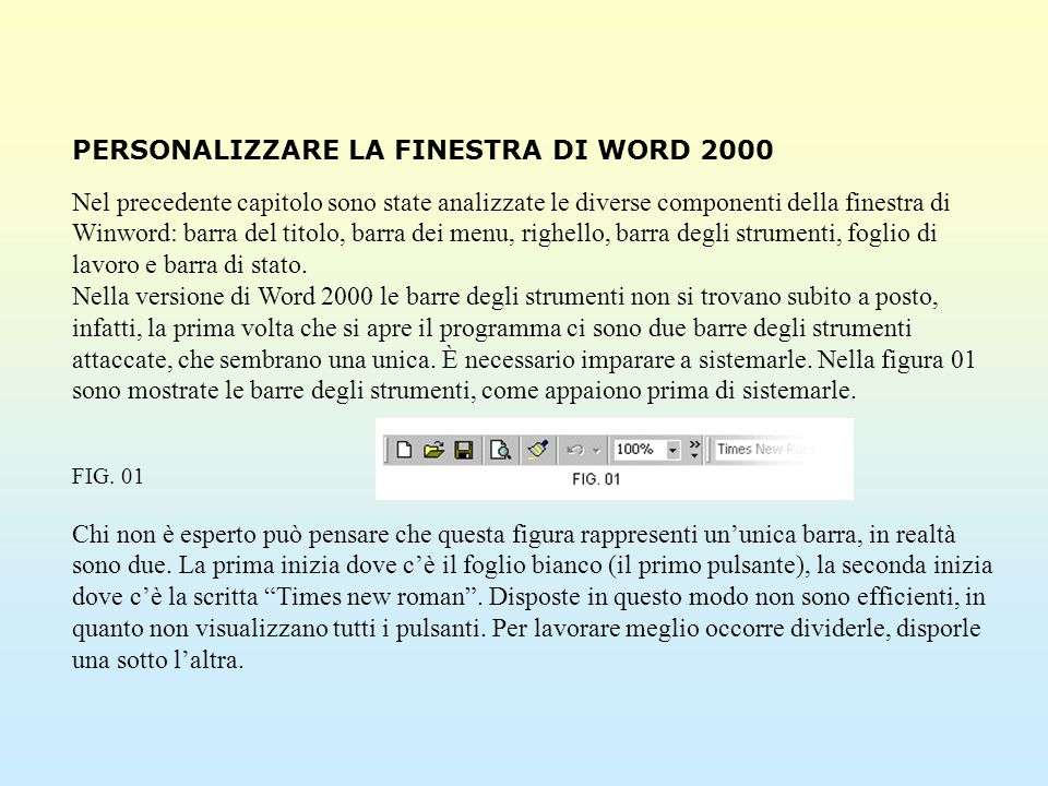 PERSONALIZZARE LA FINESTRA DI WORD 2000