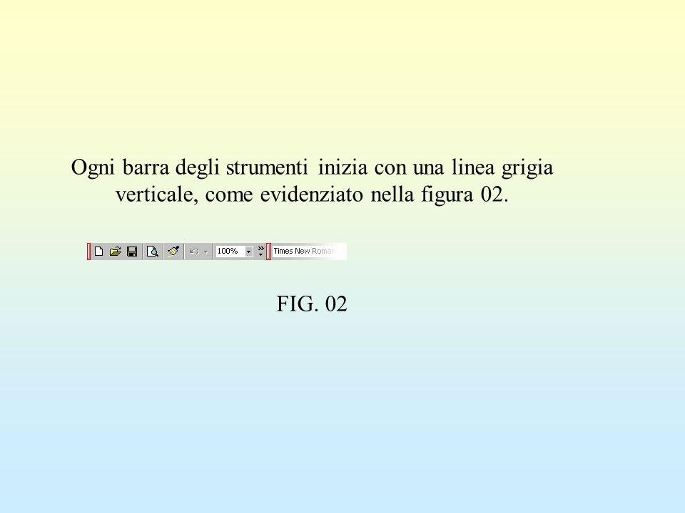 Ogni barra degli strumenti inizia con una linea grigia verticale, come evidenziato nella figura 02.