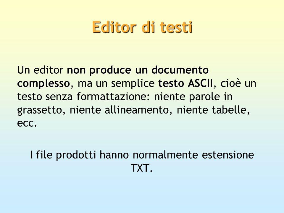 I file prodotti hanno normalmente estensione TXT.