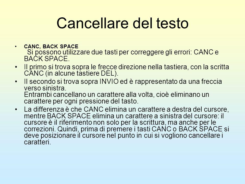 Cancellare del testo CANC, BACK SPACE Si possono utilizzare due tasti per correggere gli errori: CANC e BACK SPACE.