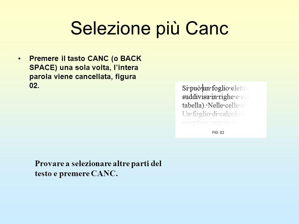 Selezione più CancPremere il tasto CANC (o BACK SPACE) una sola volta, l'intera parola viene cancellata, figura 02.