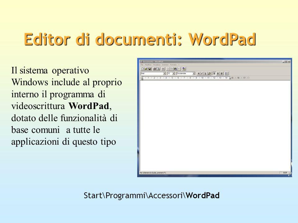 Editor di documenti: WordPad