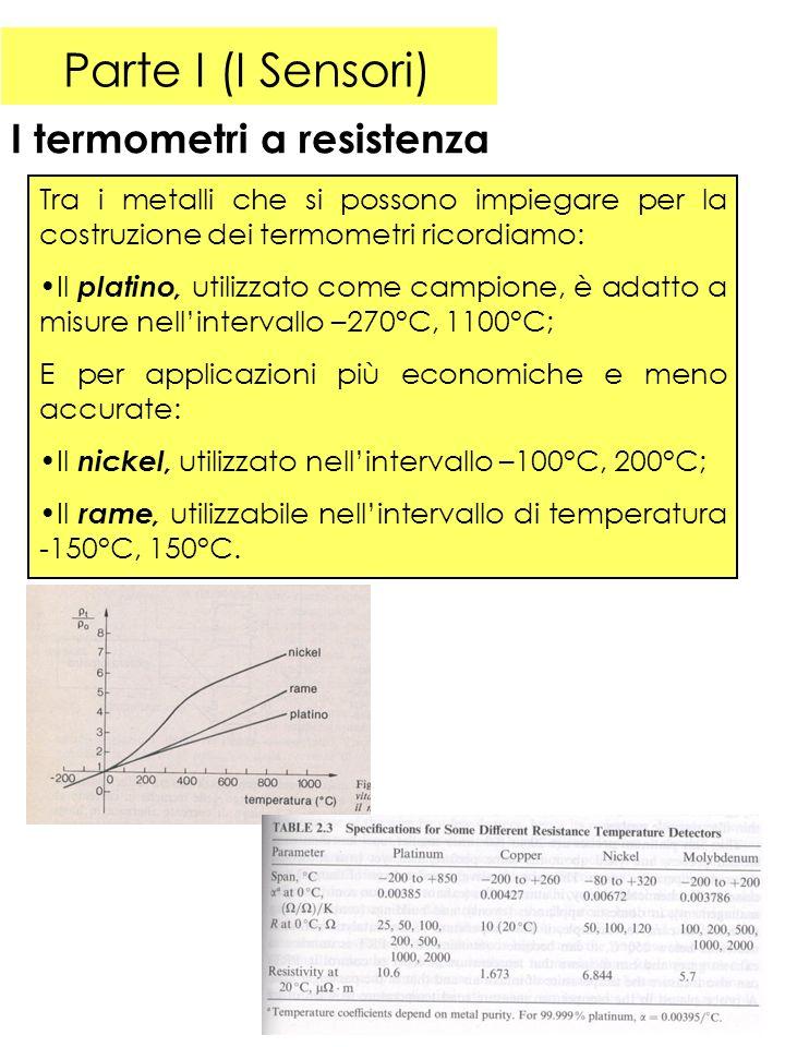 Parte I (I Sensori) I termometri a resistenza