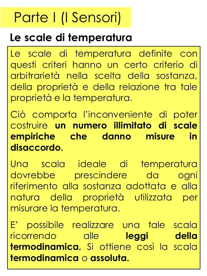 Parte I (I Sensori) Le scale di temperatura