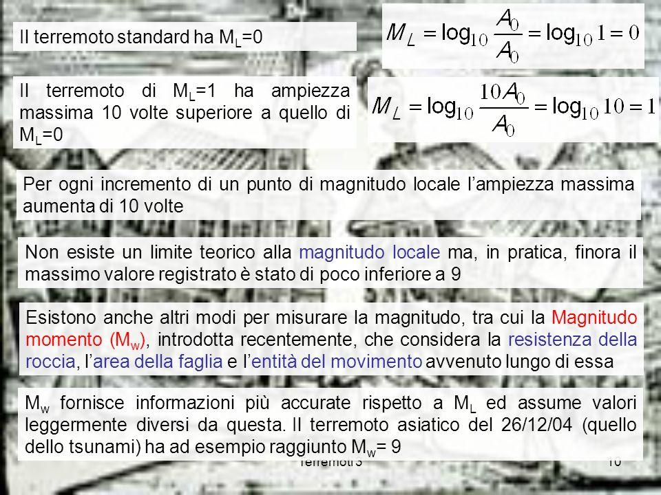 Il terremoto standard ha ML=0
