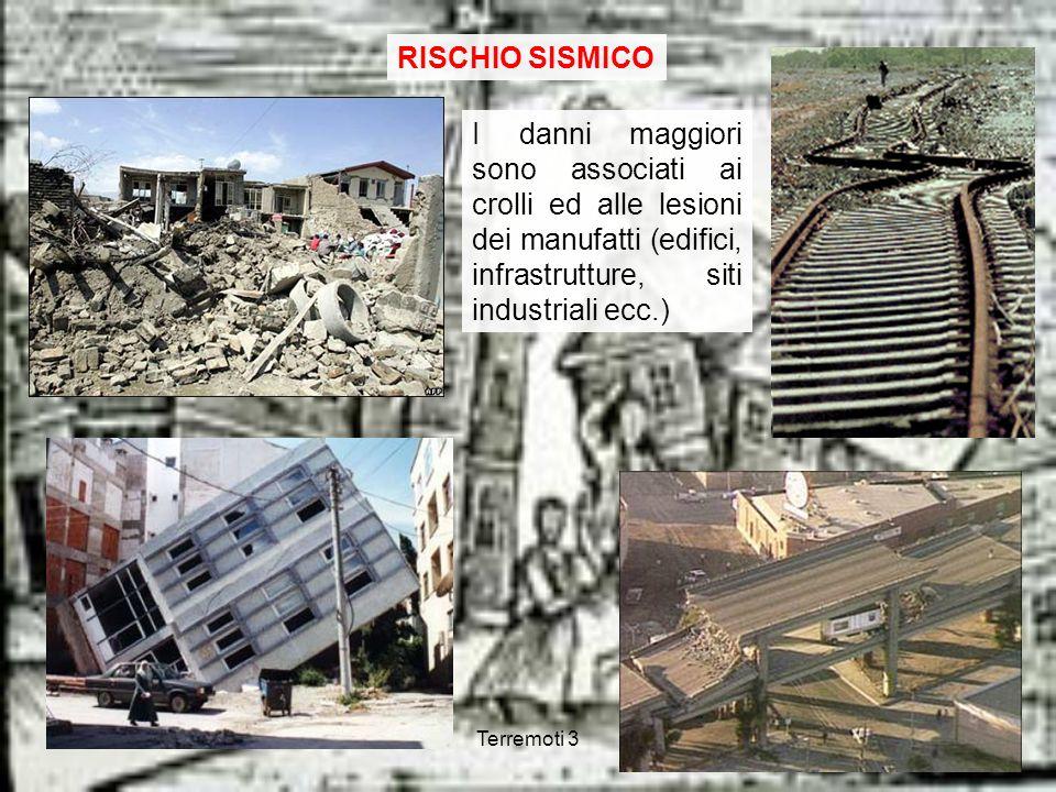 RISCHIO SISMICOI danni maggiori sono associati ai crolli ed alle lesioni dei manufatti (edifici, infrastrutture, siti industriali ecc.)