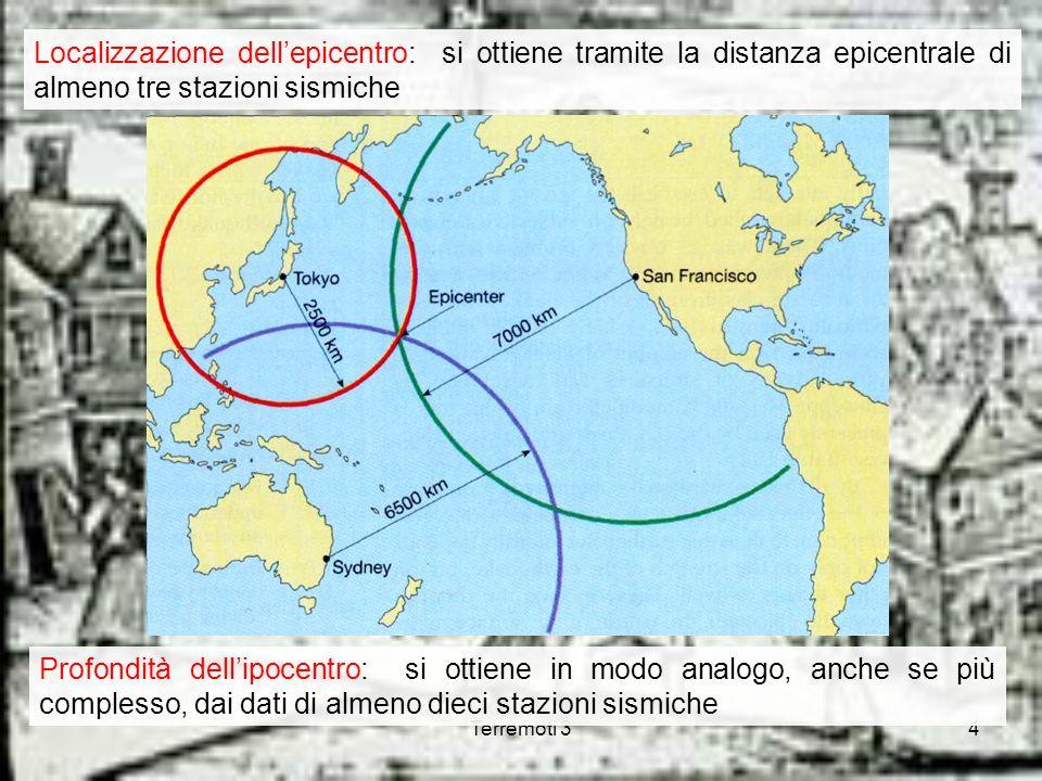 Localizzazione dell'epicentro: si ottiene tramite la distanza epicentrale di almeno tre stazioni sismiche