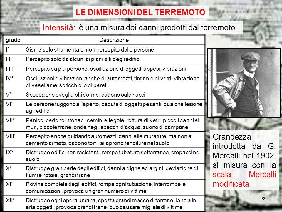 LE DIMENSIONI DEL TERREMOTO