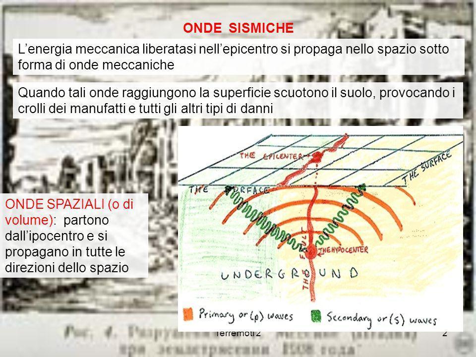 ONDE SISMICHE L'energia meccanica liberatasi nell'epicentro si propaga nello spazio sotto forma di onde meccaniche.