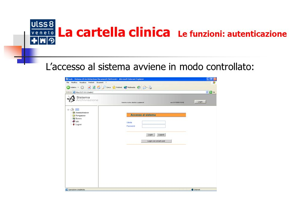 La cartella clinica Le funzioni: autenticazione