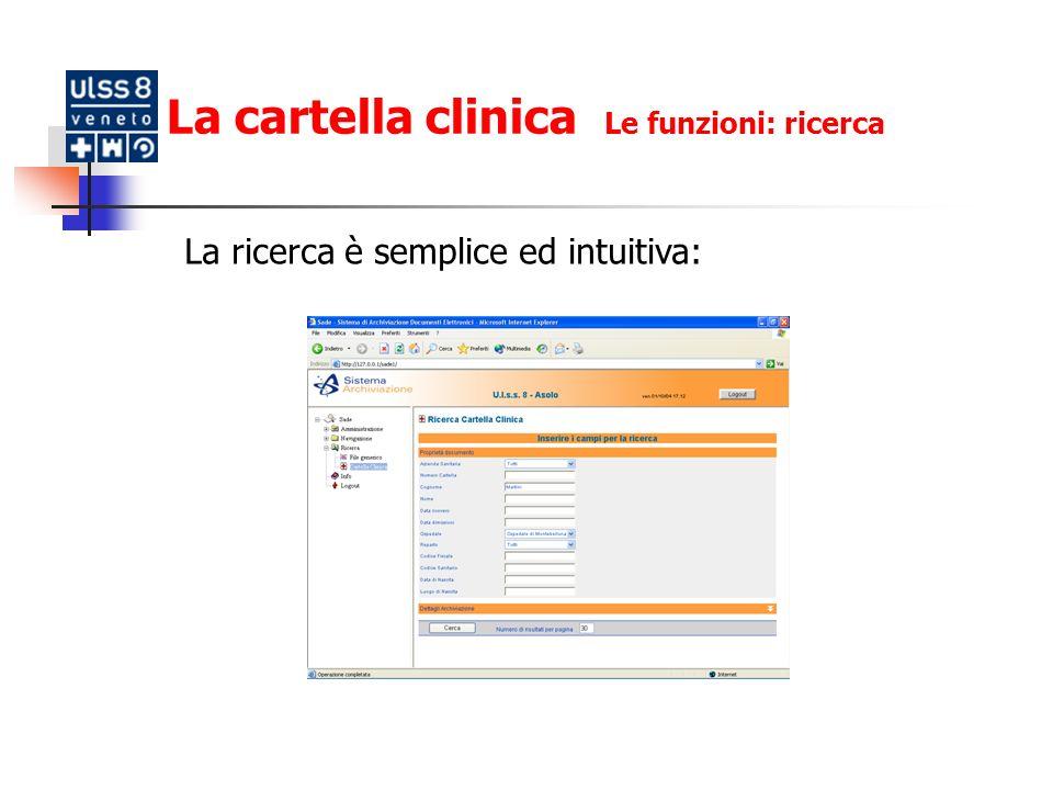La cartella clinica Le funzioni: ricerca