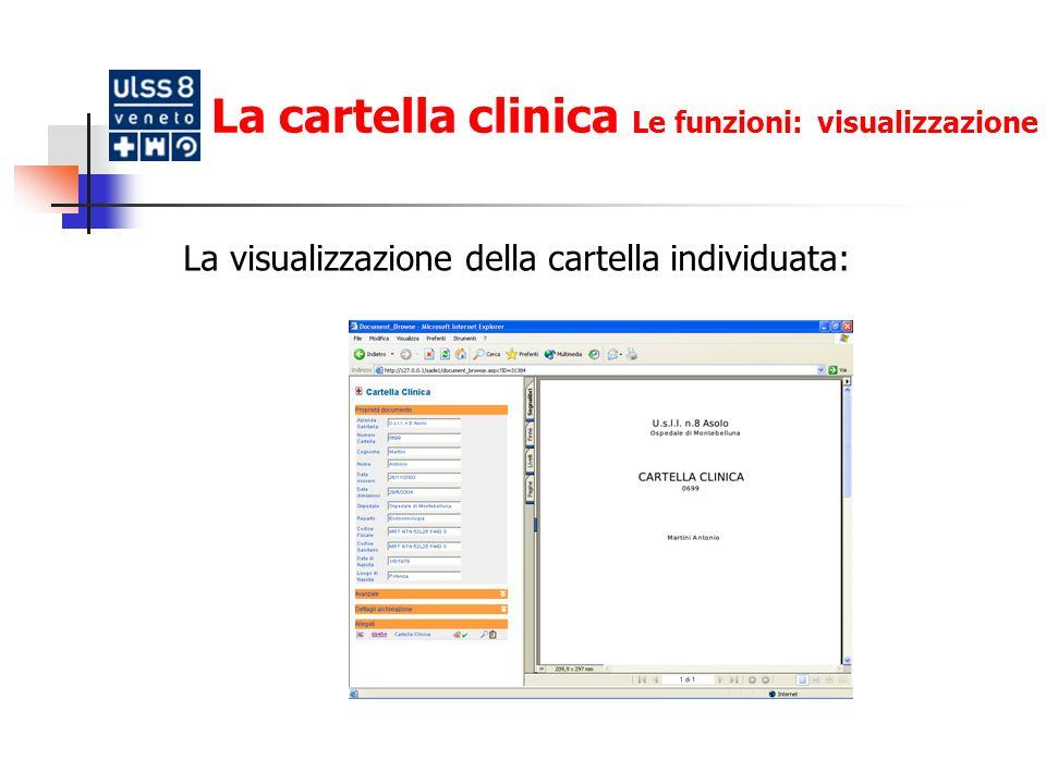 La cartella clinica Le funzioni: visualizzazione