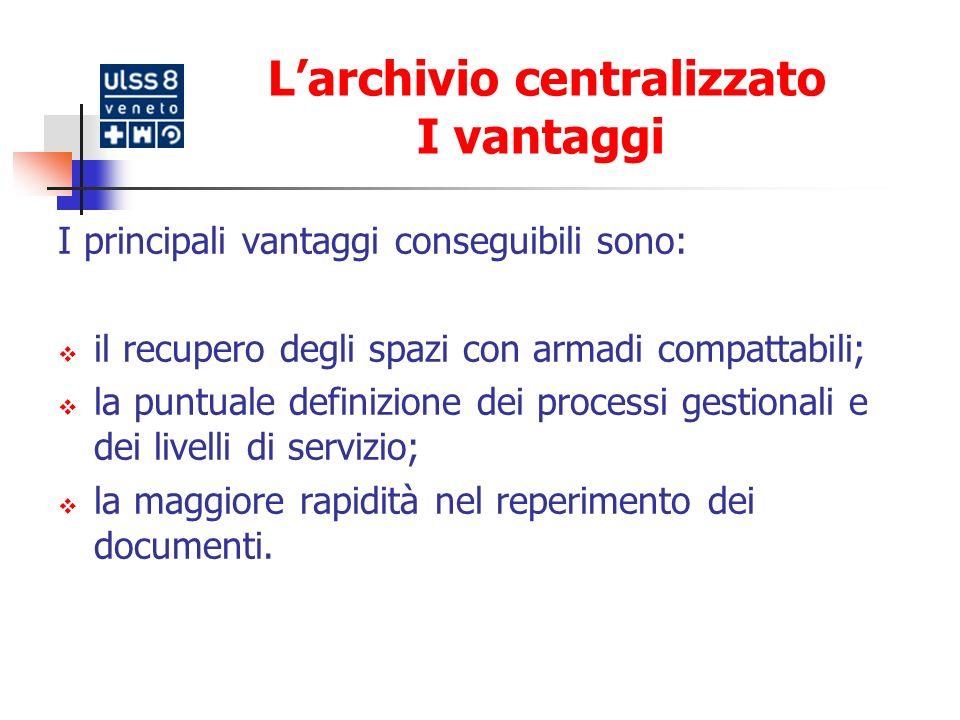 L'archivio centralizzato I vantaggi