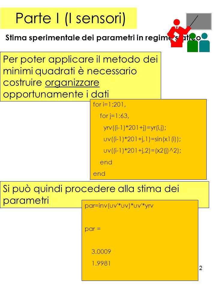 Parte I (I sensori) Stima sperimentale dei parametri in regime statico.