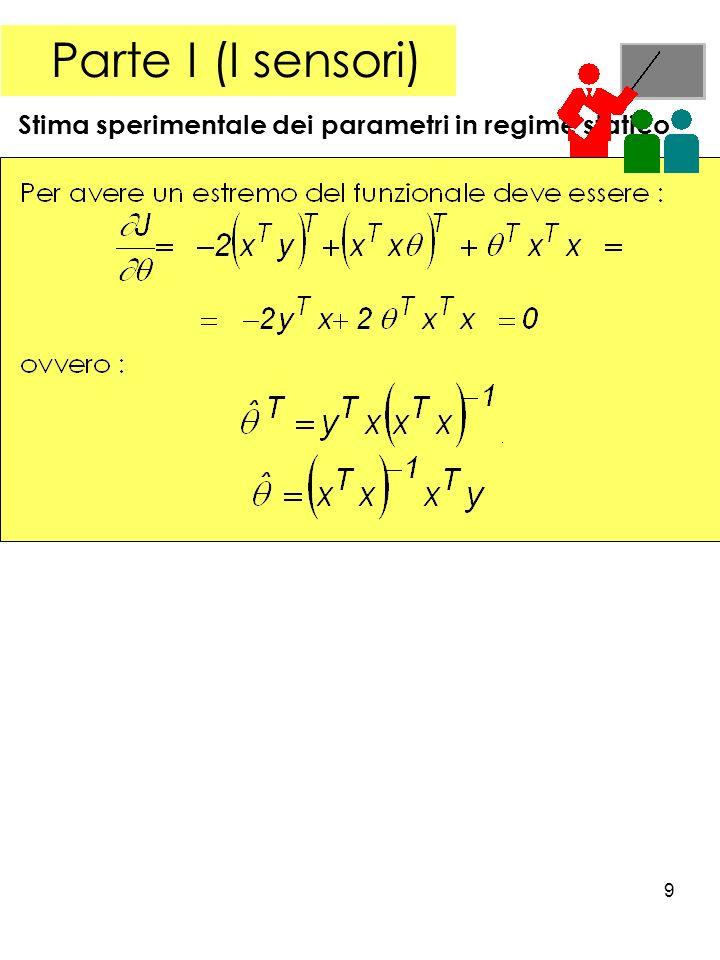 Parte I (I sensori) Stima sperimentale dei parametri in regime statico