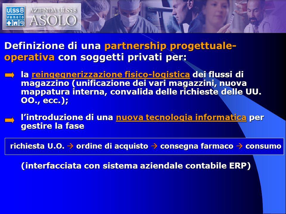 Definizione di una partnership progettuale-operativa con soggetti privati per: