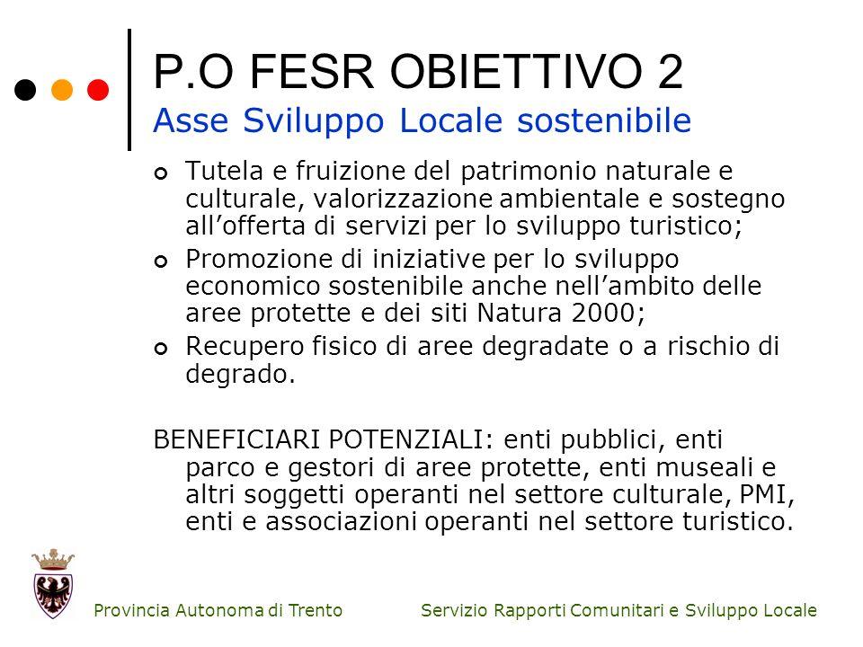 P.O FESR OBIETTIVO 2 Asse Sviluppo Locale sostenibile