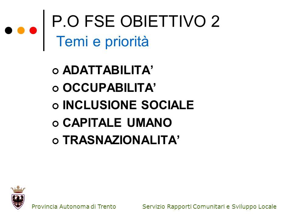 P.O FSE OBIETTIVO 2 Temi e priorità