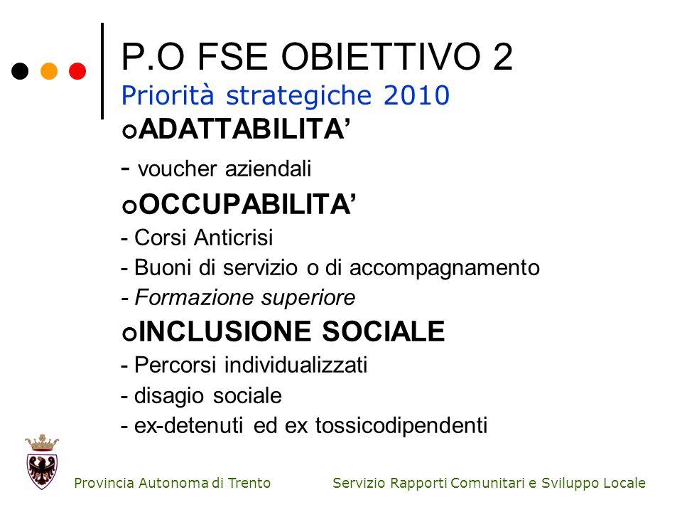 P.O FSE OBIETTIVO 2 Priorità strategiche 2010