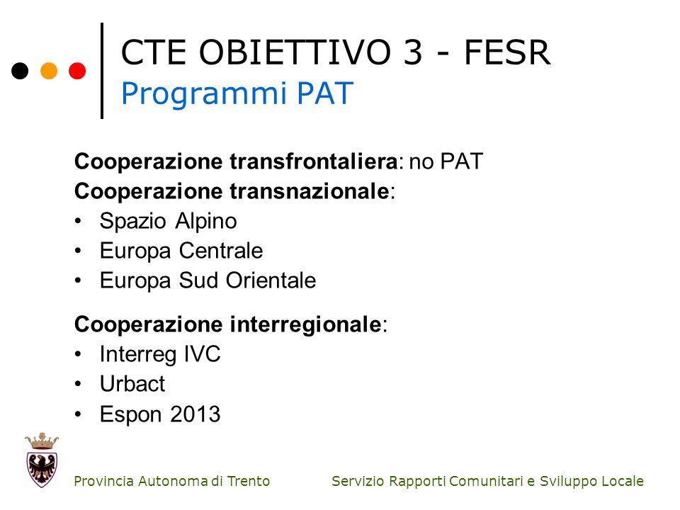 CTE OBIETTIVO 3 - FESR Programmi PAT