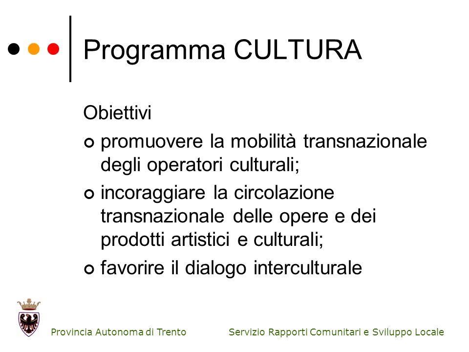 Programma CULTURA Obiettivi