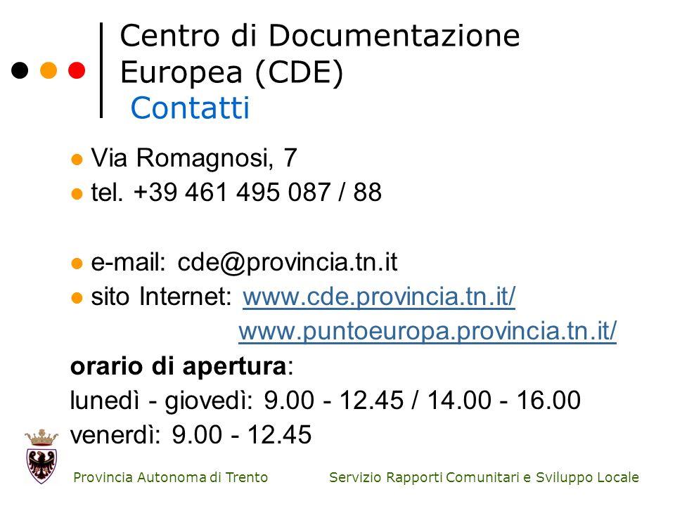 Centro di Documentazione Europea (CDE) Contatti