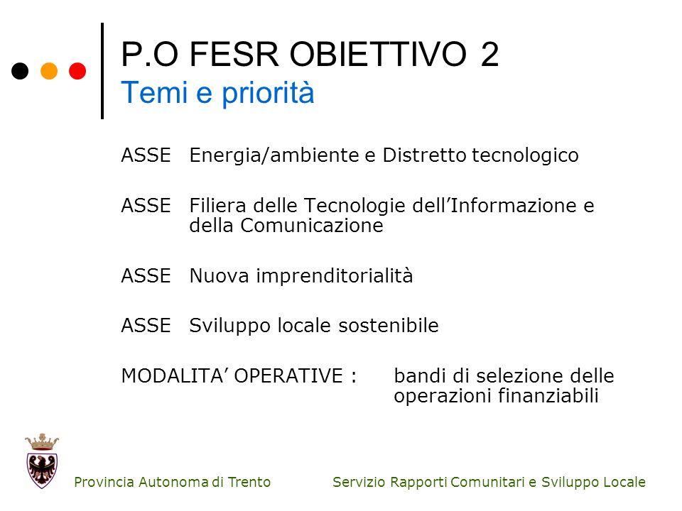 P.O FESR OBIETTIVO 2 Temi e priorità