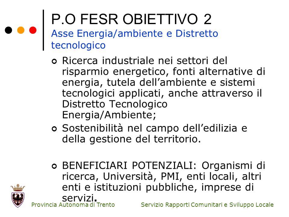 P.O FESR OBIETTIVO 2 Asse Energia/ambiente e Distretto tecnologico