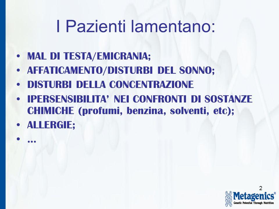 I Pazienti lamentano: MAL DI TESTA/EMICRANIA;